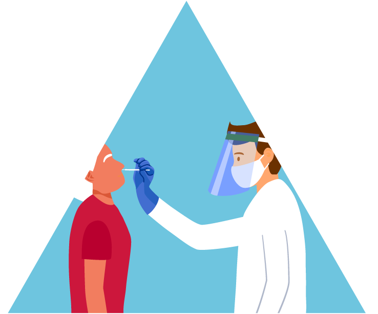 Doctor administering test